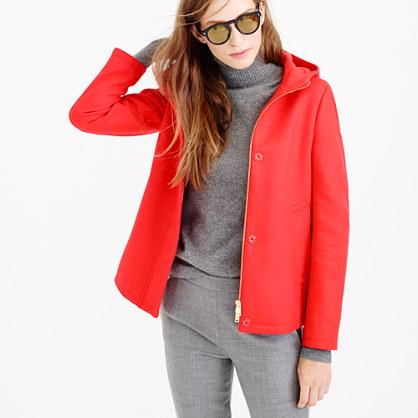Wool melton hooded bib jacket
