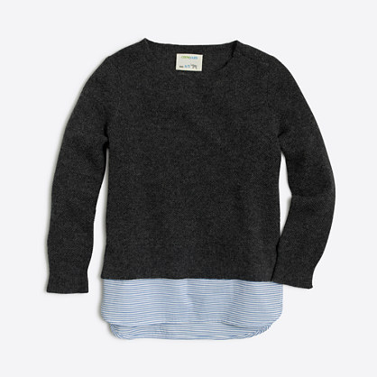 Factory girls' shirttail-hem sweater