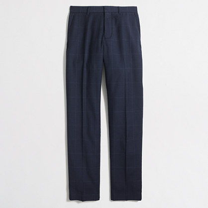 Factory slim Thompson suit pant in windowpane wool flannel