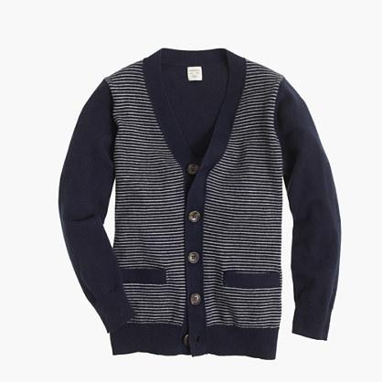 Boys' cotton-cashmere cardigan sweater in stripe