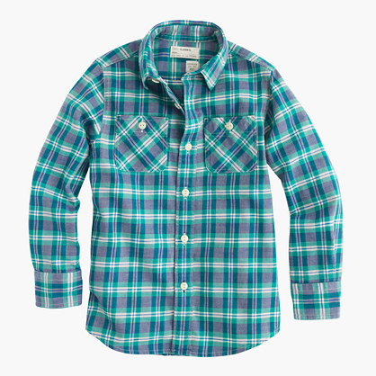 Boys' flannel shirt in green plaid