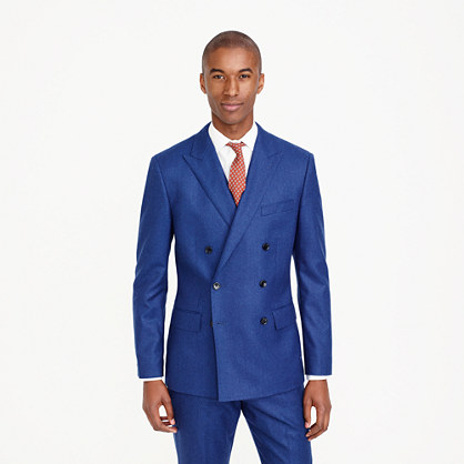 Ludlow double-breasted suit jacket in heathered Italian wool flannel