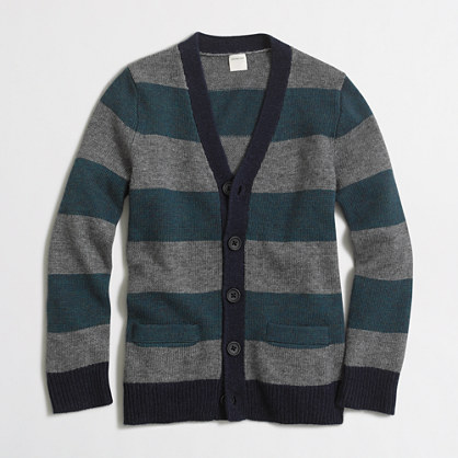 Factory boys' rugby-striped cardigan sweater