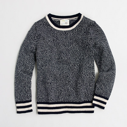 Boys' marled cotton sweater in athletic stripe