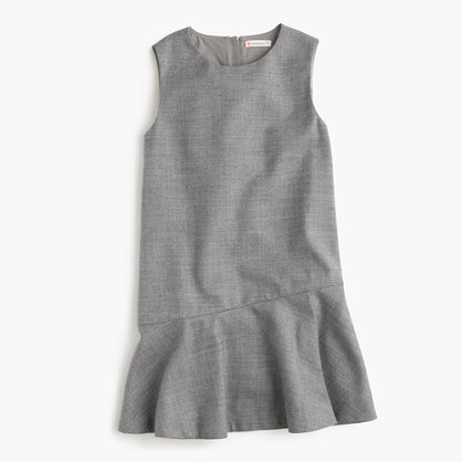 Girls' flutter-hem flannel dress