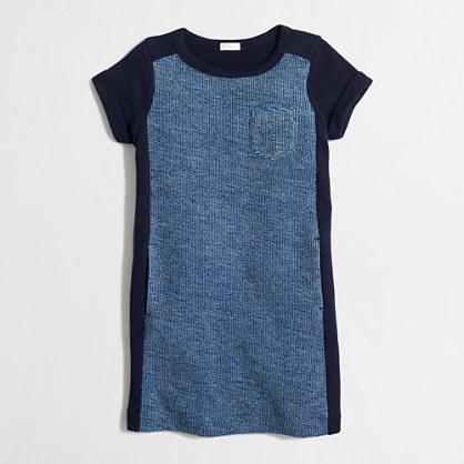 Factory girls' short-sleeve tweed panel sweatshirt dress