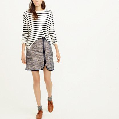 Metallic tweed zip skirt