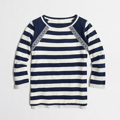 Factory girls' long-sleeve embellished striped tee