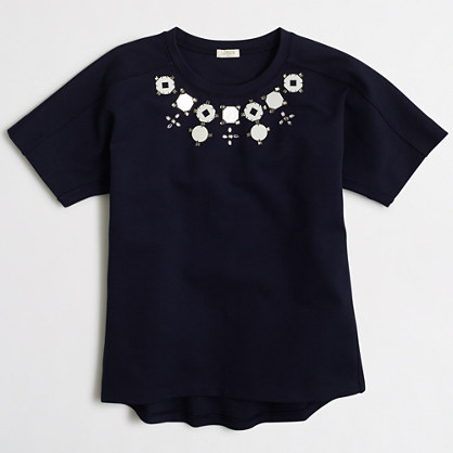 Factory structured necklace T-shirt in airy cotton