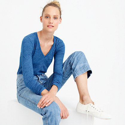 Indigo vintage cotton long-sleeve V-neck T-shirt