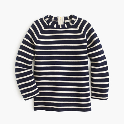 Girls' striped popover sweater