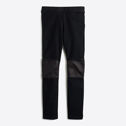 Factory girls' black leather knee patch jegging