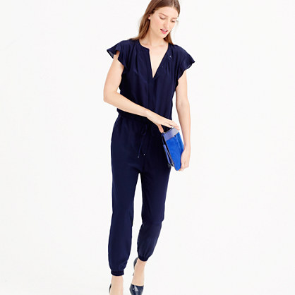 Silk flutter-sleeve jumpsuit