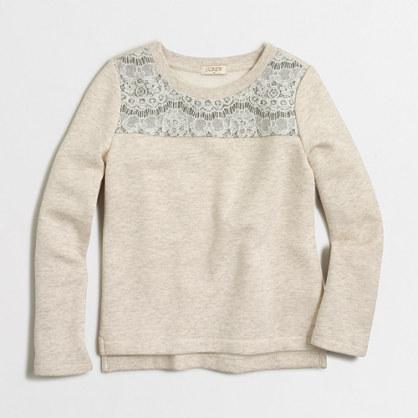 Factory girls' lace-yoke sweatshirt