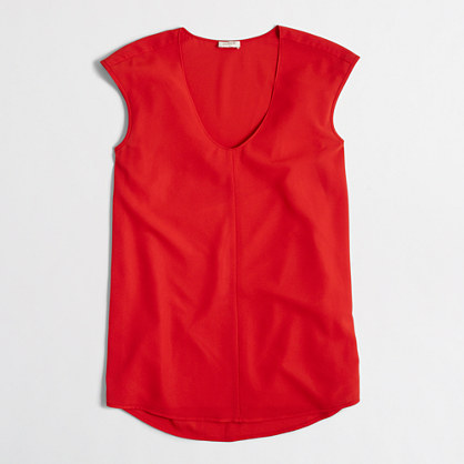 Factory petite cap-sleeve shirttail blouse