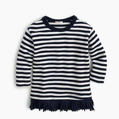 Girls' ruffle-hem striped shirt
