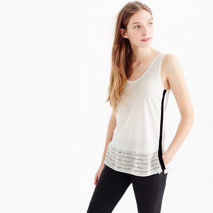 Embellished silk-hem tank top