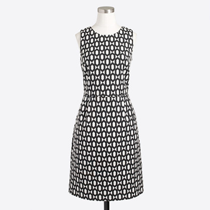 Pleated dress in geometric jacquard