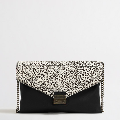 Factory snow leopard calf hair clutch