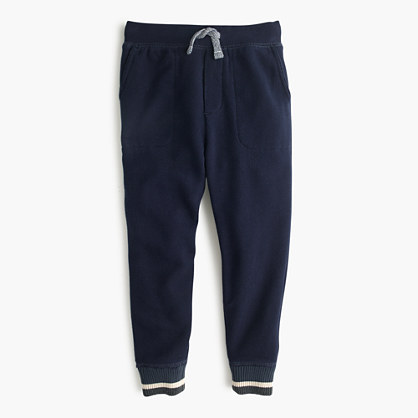 Boys' slim slouchy sweatpant with striped sweater cuffs