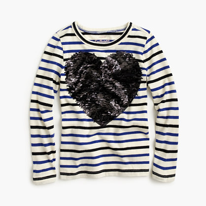 Girls' long-sleeve striped T-shirt with sequin heart