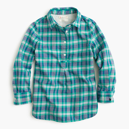 Girls' popover shirt in green plaid