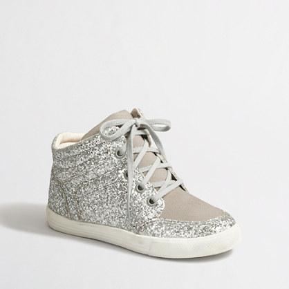 Factory girls' glitter high-top sneakers