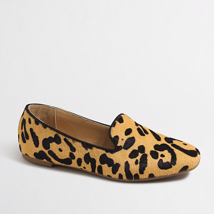 Factory girls' leopard calf hair loafers