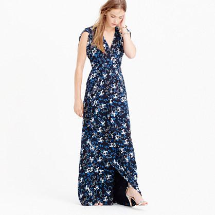 Collection petal-sleeve gown in nightfall freesia