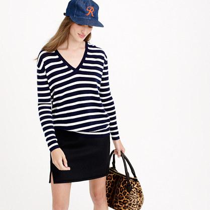 Collection cashmere boyfriend V-neck sweater in stripe