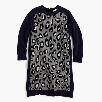 Girls' sweater-dress in leopard