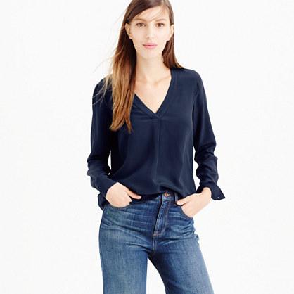 Petite silk drapey V-neck blouse