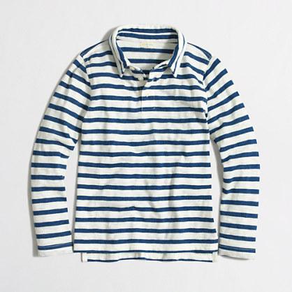 Factory boys' long-sleeve striped polo shirt