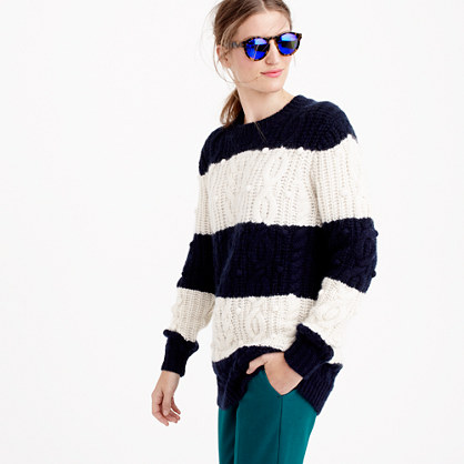 Italian cashmere cable sweater in stripe