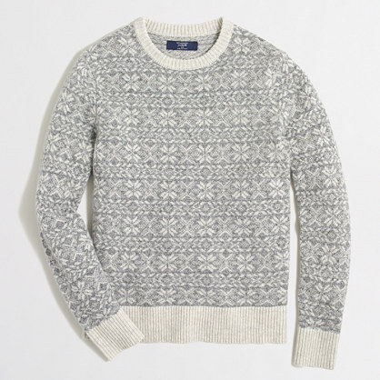 Factory tall lambswool snowflake sweater
