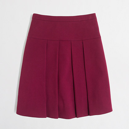 Crepe box-pleated skirt