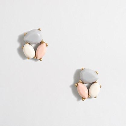 Factory crystal trio earrings