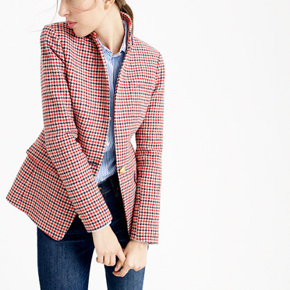 Petite Regent blazer in red houndstooth plaid