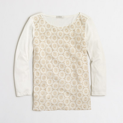 Floral lace three-quarter sleeve T-shirt