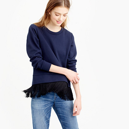 Sweatshirt with fringe hem
