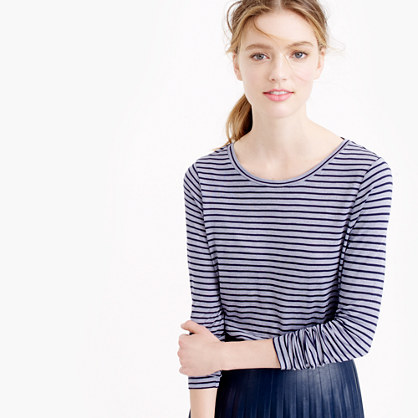 Drapey long-sleeve striped T-shirt