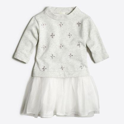 Factory girls' embellished sweatshirt tulle dress
