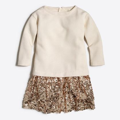 Factory girls' sequin-skirt sweatshirt dress