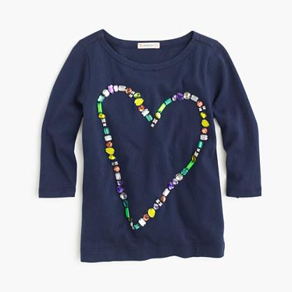 Girls' jewel heart T-shirt
