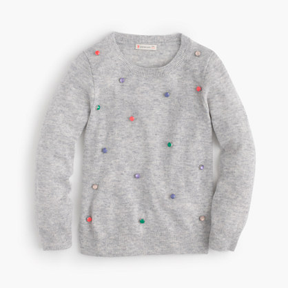 Girls' rainbow jewel popover sweater