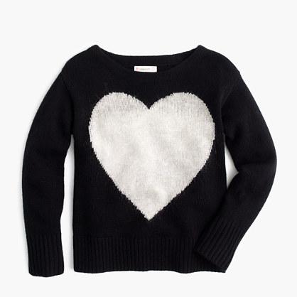 Girls' wool heart popover sweater