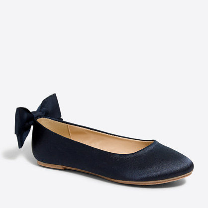 Girls' satin ballet flats with bow
