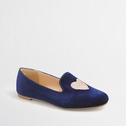 Factory girls' velvet heart loafers