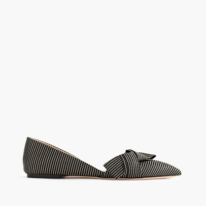 Sloan striped d'Orsay flats with obi bow