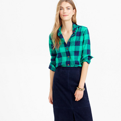 Shrunken boy shirt in emerald buffalo check